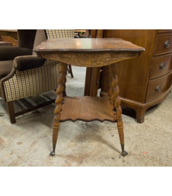 SOLD - Wood Square Table with Turned Legs and Glass Ball Feet