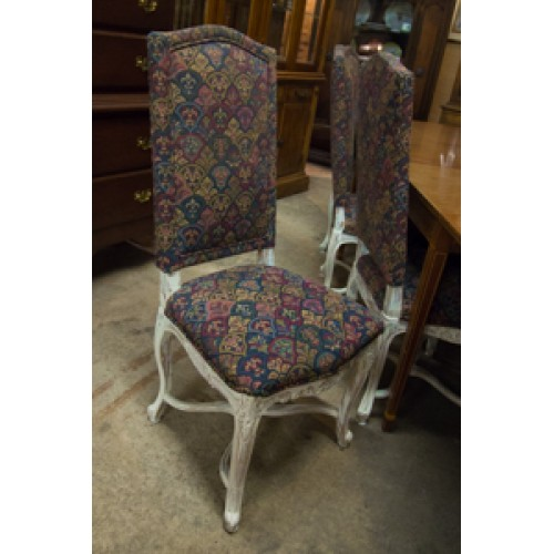 8 Custom Upholstered and Painted Dining Chairs