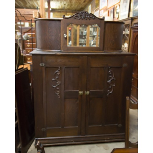 Antique Cupboard with Curved Top and Mirror