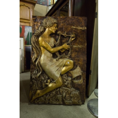 Ceramic Wall Art of Woman with Lyre