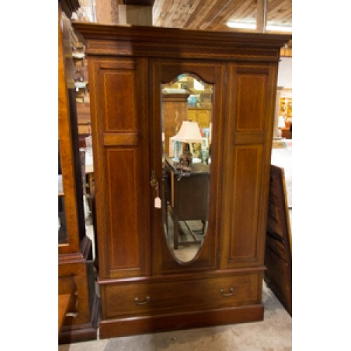 Antique Armoire with Shield Mirror and Check Pattern Inlay