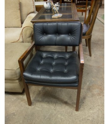 Black Leather and Wood Desk Chair