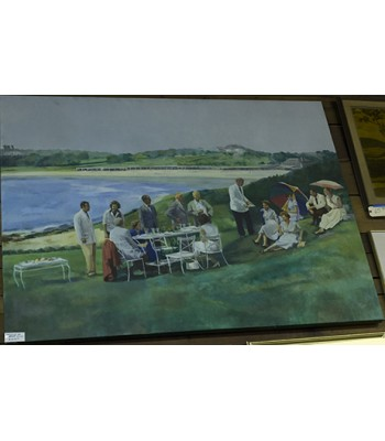 SOLD - Large Painting of Lunch Party