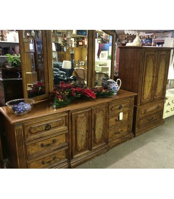 SOLD - 2 Dressers with Mirror, Flower Pattern