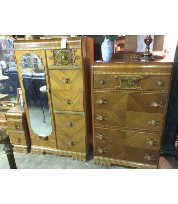 SOLD - Antique Waterfall Dresser and Wardrobe