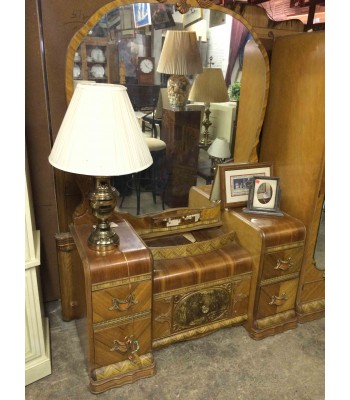 SOLD - Antique Waterfall Vanity with Round Mirror
