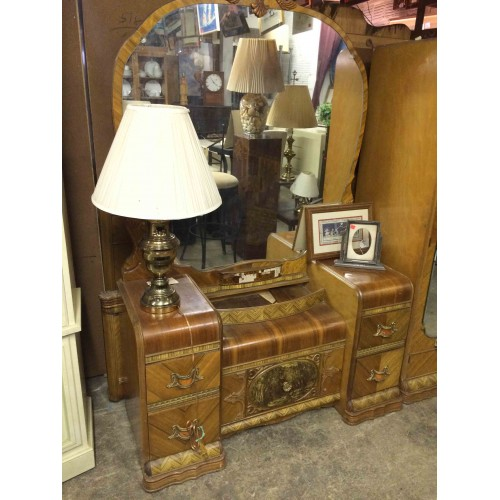 SOLD - Antique Waterfall Vanity with Round Mirror. $221.00 - SOLD - Antique Waterfall Vanity With Round Mirror