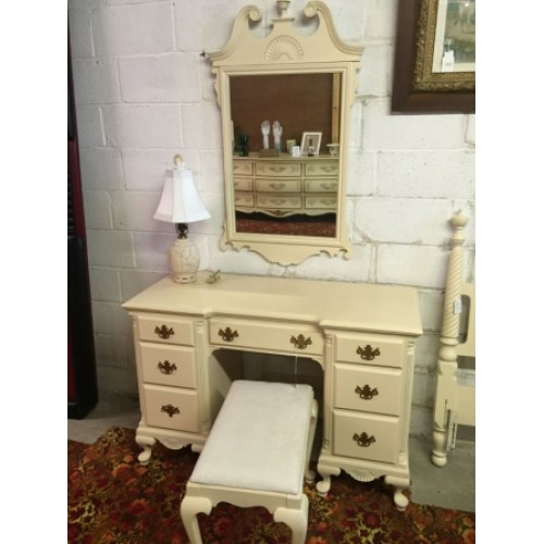 White painted vanity with mirror and bench