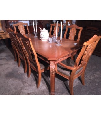 SOLD - light oak dining set with 6 chairs