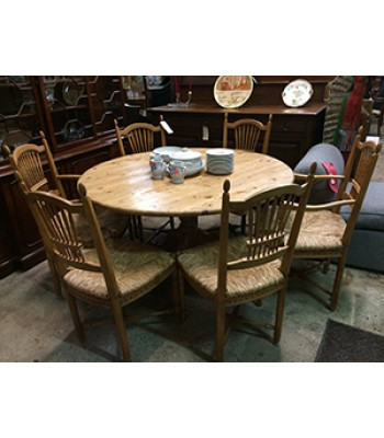 SOLD - Maple Round Table with 6 chairs