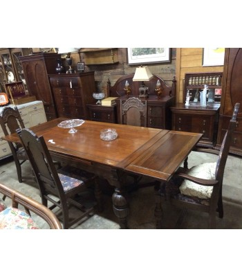 SOLD - Ornate Dining Set with Winged Leaves
