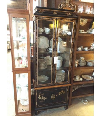 Black Lacquer Asian-Inspired China Cabinet