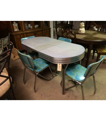 SOLD - Chrome Dinette Set with Leaf and 4 Chairs