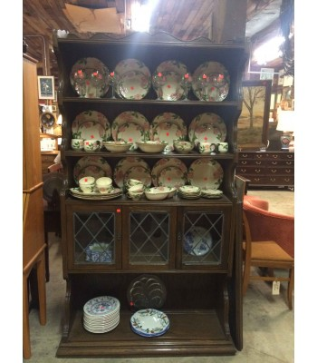 SOLD - Hutch with Leaded Glass