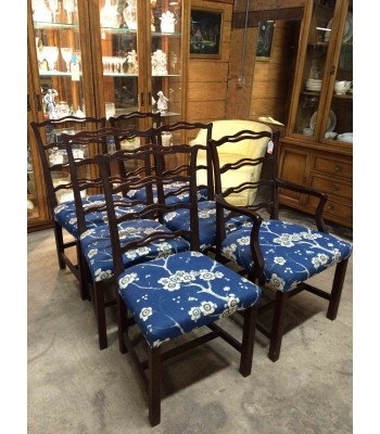 6 Custom Upholstered Chairs, 1 Captain Chair
