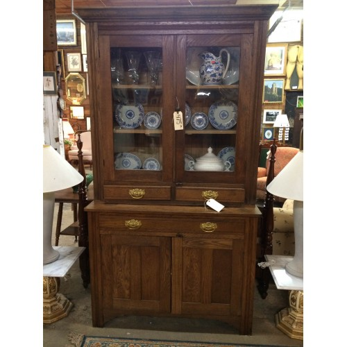 Antique Oak China Cupboard/Hutch