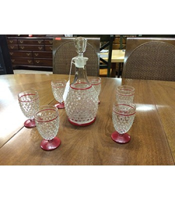 Vintage Anchor Hocking Hobnail Drinks Set