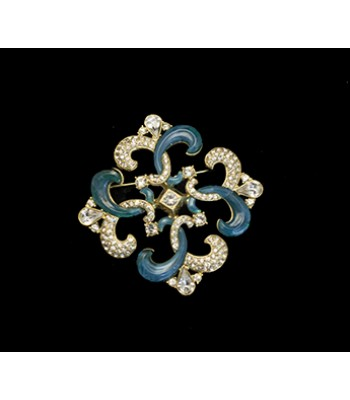 Blue and Faux Diamond Brooch