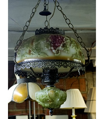 SOLD - Glass Lamp with Grape Motif