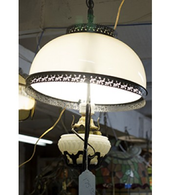 Glass and Metal Victorian-style Hanging Lamp