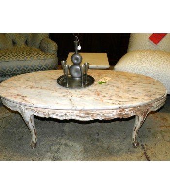 SOLD - Modern Whitewash Marble Top Coffee Table
