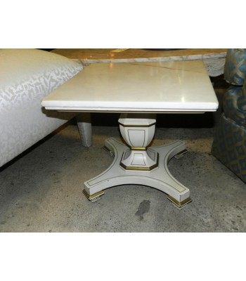 SOLD - Mid Century Square Pedestal Lamp Table