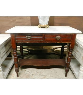 SOLD - Marble Top Cherry End Table