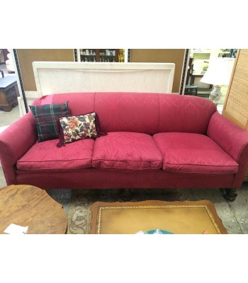 Antique Couch Reupholstered Red