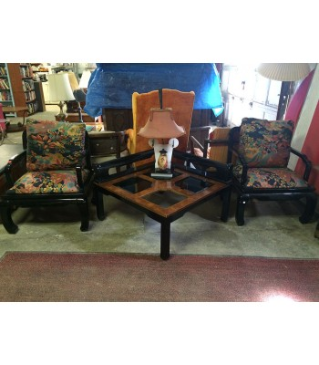 SOLD - Asian-style arm chairs and coffee table