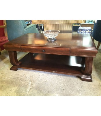 SOLD - Large wood coffee table with drawer