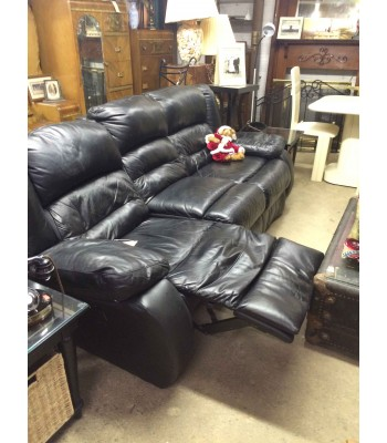 SOLD - Black Leather Couch with 2 Recliners