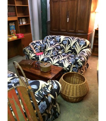 SOLD - Lee, NC made Pr. Blue Floral Loveseats