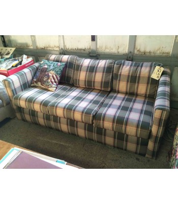 SOLD - Green Plaid Sofa Bed