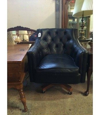 SOLD - Black Leather Armed Office Chair