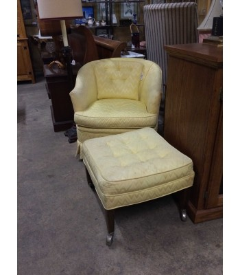 SOLD - Yellow Barrel Back Chair with Ottoman