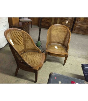 SOLD - Caned Barrel Back Chairs On Wheels