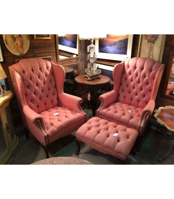 Pair of Pink Wingback Chairs