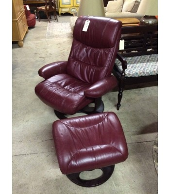 SOLD - Lane Red Leather Chair and Ottoman