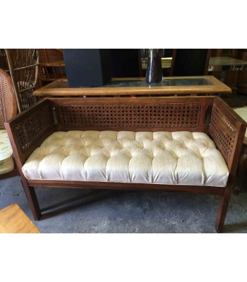 SOLD - Cane Back, Upholstered Seat Bench