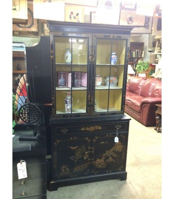 Black Lacquer Asian-Style China Cupboard