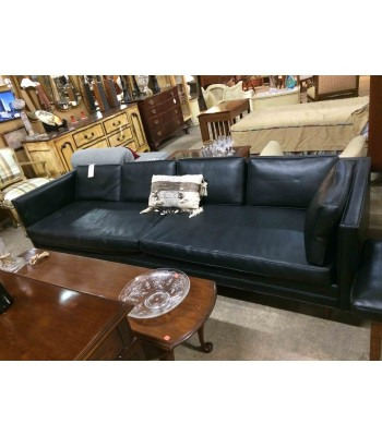 SOLD - Mid-Century Black Vinyl Sofa and Ottoman