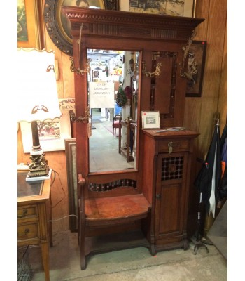 Victorian Hall Tree with Seat and Cabinet