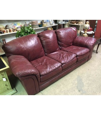 SOLD - Lane Maroon Leather Couch
